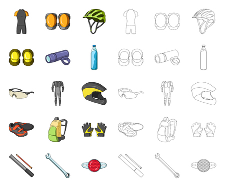 Bicycle outfit cartoon,outline icons in set collection for design. Bicycle and tool vector symbol stock web illustration.