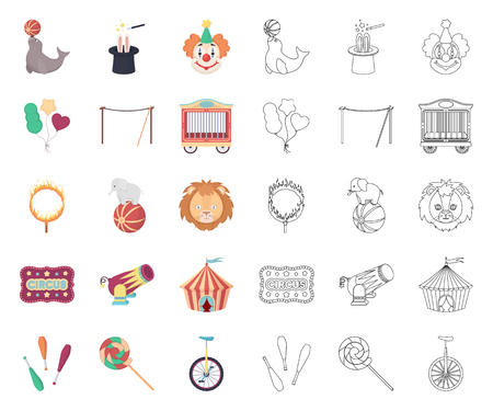 Circus and attributes cartoon,outline icons in set collection for design. Circus Art vector symbol stock web illustration.