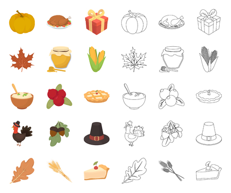 Canada Thanksgiving Day cartoon,outline icons in set collection for design. Canada and Tradition vector symbol stock web illustration.