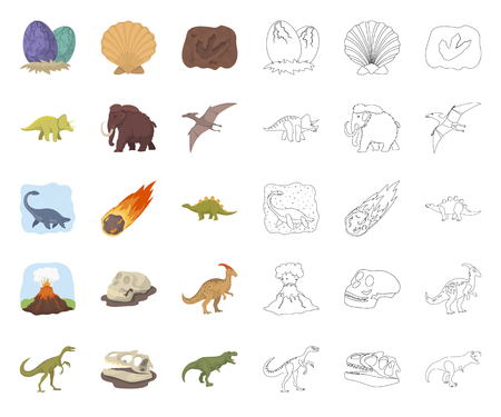 Different dinosaurs cartoon,outline icons in set collection for design. Prehistoric animal vector symbol stock web illustration.