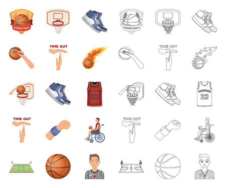 Basketball and attributes cartoon,outline icons in set collection for design.Basketball player and equipment vector symbol stock web illustration.