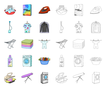 Dry cleaning equipment cartoon,outline icons in set collection for design. Washing and ironing clothes vector symbol stock web illustration.