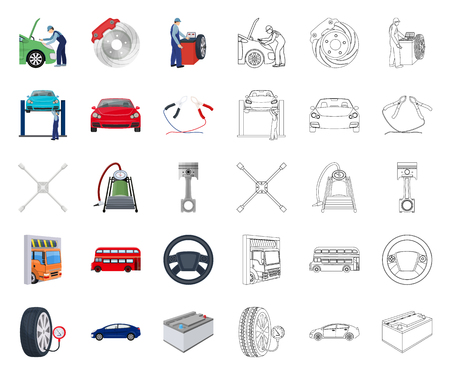 Car, lift, pump and other equipment cartoon,outline icons in set collection for design. Car maintenance station vector symbol stock illustration web.