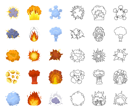 Different explosions cartoon,outline icons in set collection for design.Flash and flame vector symbol stock web illustration.