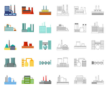 Factory and facilities cartoon,outline icons in set collection for design. Factory and equipment vector symbol stock web illustration. 일러스트