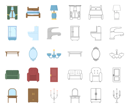 Furniture and interior cartoon,outline icons in set collection for design.Home furniture vector symbol stock web illustration. Vettoriali
