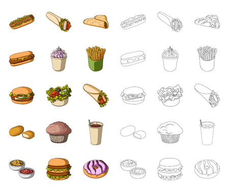 Fast food cartoon,outline icons in set collection for design.Food from semi-finished products vector symbol stock web illustration.