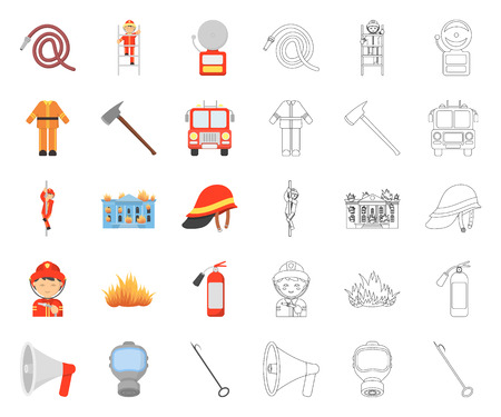 Fire Department cartoon,outline icons in set collection for design. Firefighters and equipment vector symbol stock web illustration.