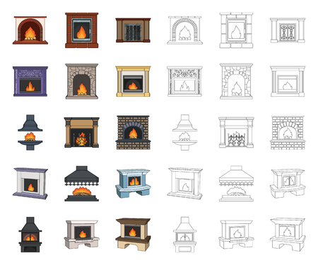 Different kinds of fireplaces cartoon,outline icons in set collection for design.Fireplaces construction vector symbol stock web illustration.