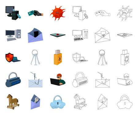Hacker et piratage cartoon,icônes de contour dans la collection de jeux pour la conception. Hacker et équipement vecteur symbole stock illustration web.