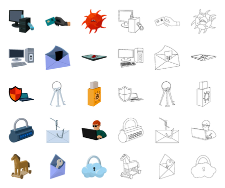 Hacker and hacking cartoon,outline icons in set collection for design. Hacker and equipment vector symbol stock web illustration. Illustration
