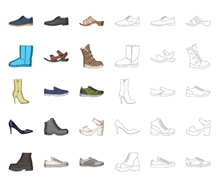 Different shoes cartoon,outline icons in set collection for design. Men and women shoes vector symbol stock web illustration.