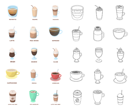 Different kinds of coffee cartoon,outline icons in set collection for design. Coffee drink vector symbol stock web illustration.