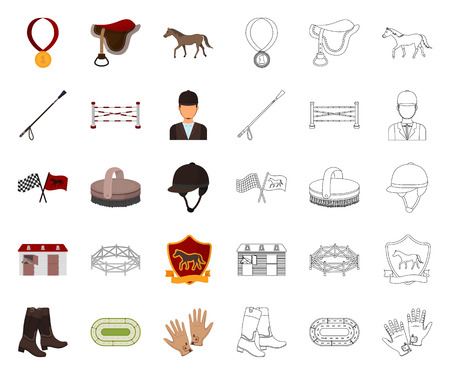 Hippodrome and horse cartoon,outline icons in set collection for design. Horse Racing and Equipment vector symbol stock web illustration.