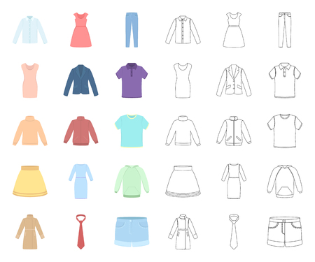 Different kinds of clothes cartoon,outline icons in set collection for design. Clothes and style vector symbol stock web illustration.