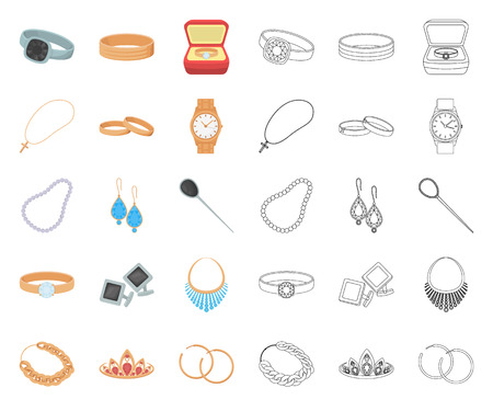 Jewelry and accessories cartoon,outline icons in set collection for design.Decoration vector symbol stock web illustration.