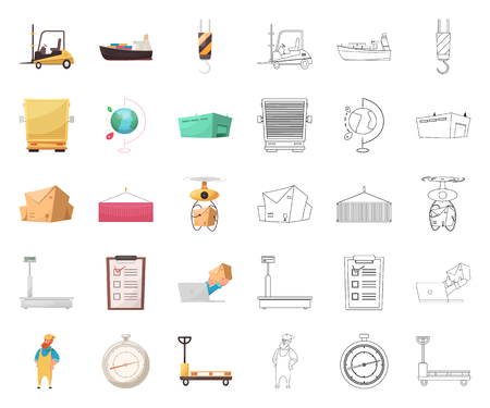 Isoliertes Objekt der Waren- und Frachtikone. Sammlung von Waren und Lagerbestandsymbol für Web.