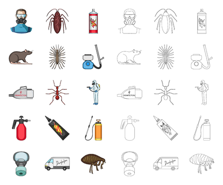 Pest, poison, personnel and equipment cartoon,outline icons in set collection for design. Pest control service vector symbol stock web illustration.