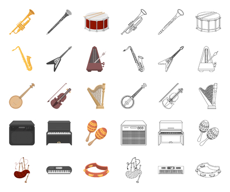 Musical instrument cartoon,outline icons in set collection for design. String and Wind instrument vector symbol stock web illustration.