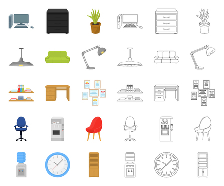 Interior of the workplace cartoon,outline icons in set collection for design. Office furniture vector symbol stock web illustration.