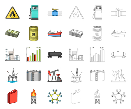 Oil industry cartoon,outline icons in set collection for design. Equipment and oil production vector symbol stock web illustration.