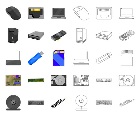 Personal computer cartoon,outline icons in set collection for design. Equipment and accessories vector symbol stock web illustration.
