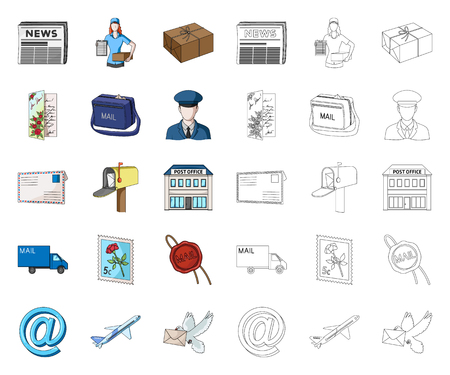Mail and postman cartoon,outline icons in set collection for design. Mail and equipment vector symbol stock web illustration.