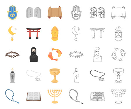 Religion and belief cartoon,outline icons in set collection for design. Accessories, prayer vector symbol stock web illustration.
