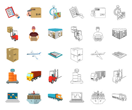 Logistics and delivery cartoon,outline icons in set collection for design. Transport and equipment isometric vector symbol stock web illustration.