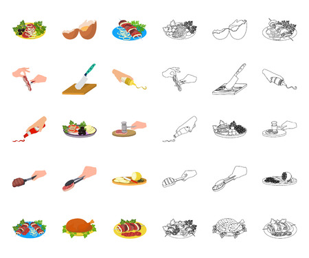 Cooking food cartoon,outline icons in set collection for design. Kitchen, equipment and tools vector symbol stock web illustration. Ilustração