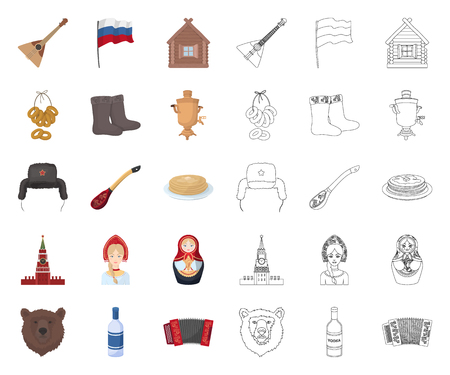 Country Russia, travel cartoon,outline icons in set collection for design. Attractions and features vector symbol stock web illustration.
