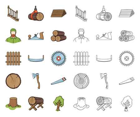 Sawmill and Timber cartoon,outline icons in set collection for design. Hardware and Tools vector symbol stock web illustration.