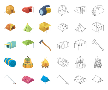 Different kinds of tents cartoon,outline icons in set collection for design. Temporary shelter and housing vector symbol stock web illustration. Иллюстрация