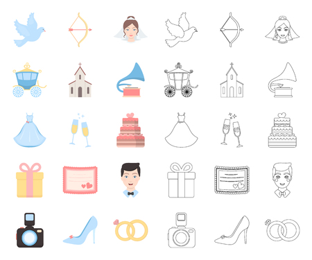 Wedding and Attributes cartoon,outline icons in set collection for design.Newlyweds and Accessories vector symbol stock web illustration. Illustration