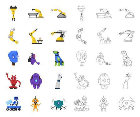 Vector illustration of robot and factory symbol. Set of robot and space stock symbol for web.