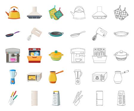 Dibujos animados de equipos de cocina, iconos de contorno en conjunto para el diseño. Cocina y accesorios vector símbolo stock web ilustración.