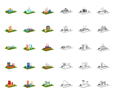 Factory and plant cartoon,outline icons in set collection for design. Production and enterprise vector isometric symbol stock web illustration.