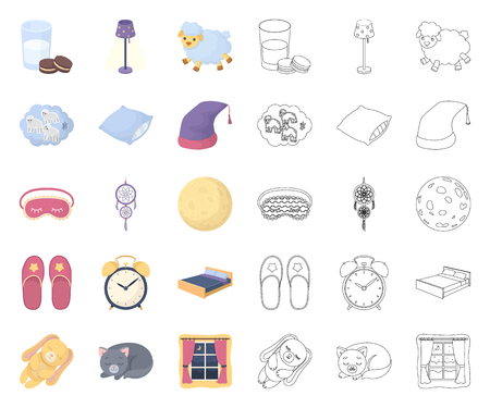 Rest and sleep cartoon,outline icons in set collection for design. Accessories and comfort vector symbol stock web illustration.