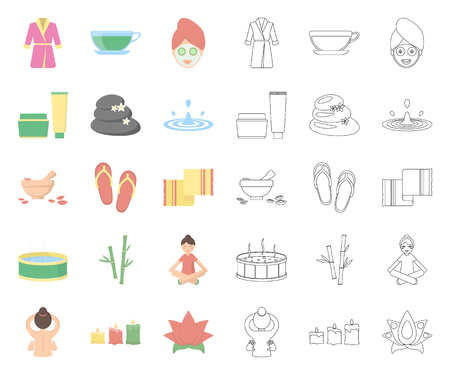 Spa salon and equipment cartoon,outline icons in set collection for design. Relaxation and rest vector symbol stock web illustration.