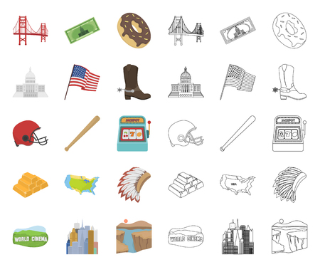 USA country cartoon,outline icons in set collection for design.Travel and attractions vector symbol stock web illustration. Vectores