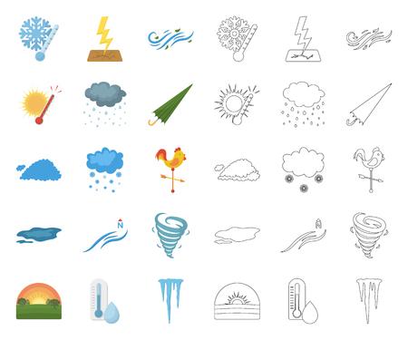Dibujos animados de clima diferente, iconos de contorno de colección set de diseño.Signos y características de la ilustración web de stock de símbolo de vector de clima.