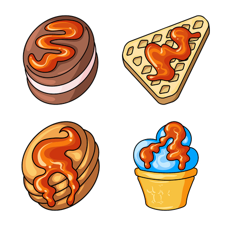Isolated object of dessert and sweet sign. Collection of dessert and food vector icon for stock. Иллюстрация