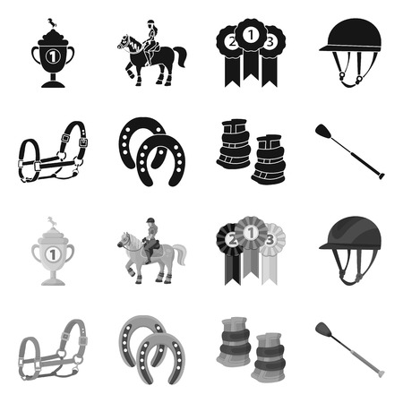 Isolated object of equipment and riding symbol. Set of equipment and competition stock vector illustration.
