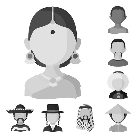 Vector illustration of person and culture icon. Set of person and race vector icon for stock.