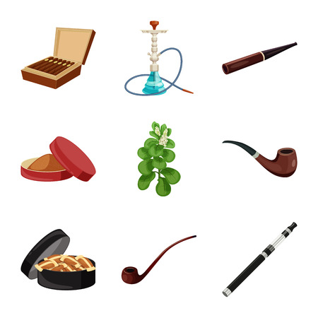 Vector illustration of cigarette and tobacco logo. Set of cigarette and nicotine stock vector illustration. Çizim