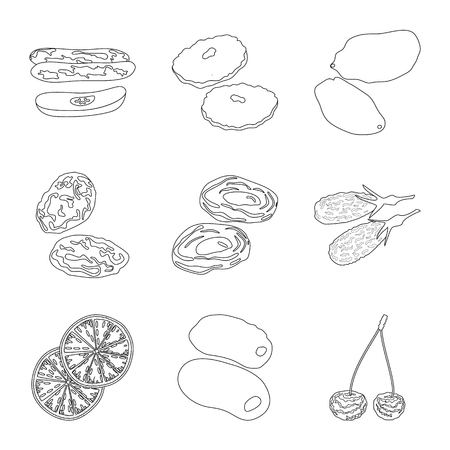 Vector illustration of food and raw sign. Set of food and nature vector icon for stock.