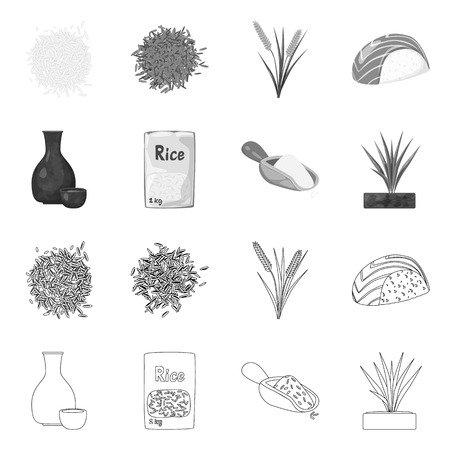 Vector design of crop and ecological icon. Collection of crop and cooking stock symbol for web.