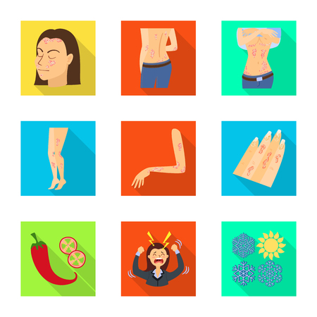 Vector design of dermatology and disease sign. Collection of dermatology and medical  stock symbol for web. Иллюстрация