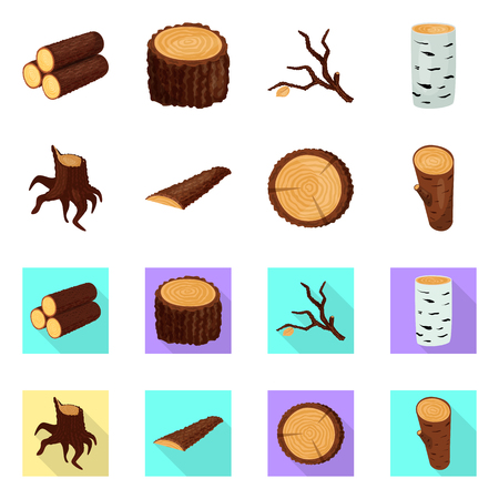 Vector design of tree   and raw  icon. Collection of tree   and construction stock vector illustration. Vettoriali