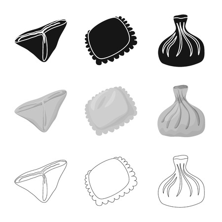 Vector design of products  and cooking sign. Collection of products  and appetizer stock vector illustration.